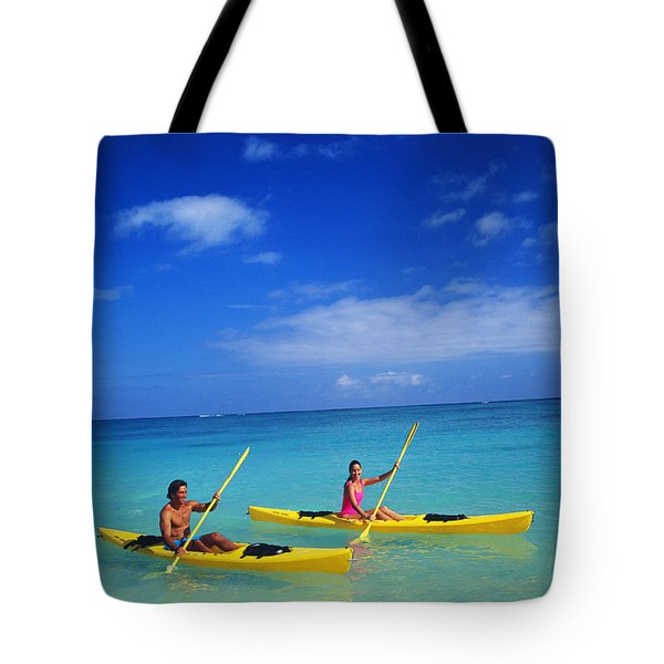 Couple Paddling Tote Bag by Kyle Rothenborg - Printscapes