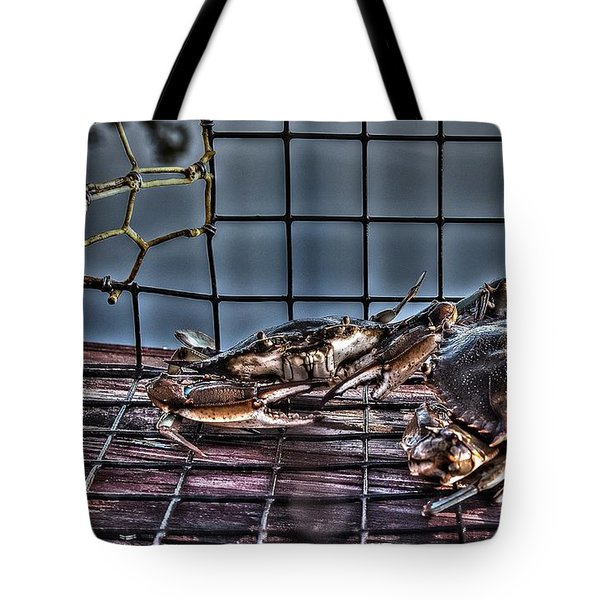 Tote Bag featuring the photograph 2 Crabs In Trap by Tommy Patterson