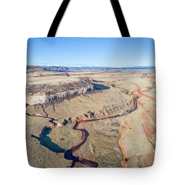 creek at  Colorado foothills - aerial view Tote Bag
