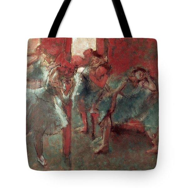 Dancers At Rehearsal Tote Bag by Edgar Degas