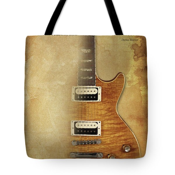 Darius Rucker Inspirational Quote, Electric Guitar Poster For Music Lovers And Musicians Tote Bag