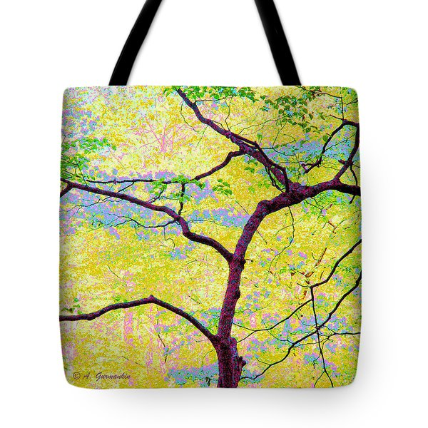 Tote Bag featuring the digital art Dogwood Tree In Spring by A Gurmankin