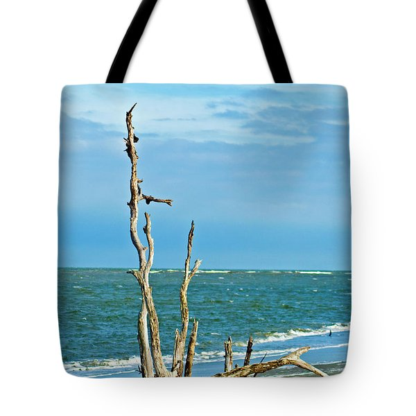 Driftwood On Beach Tote Bag by Bill Barber