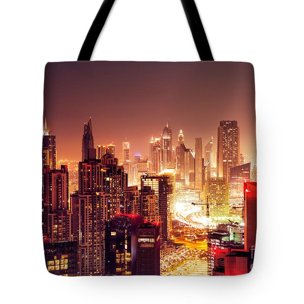 Dubai City At Night Tote Bag