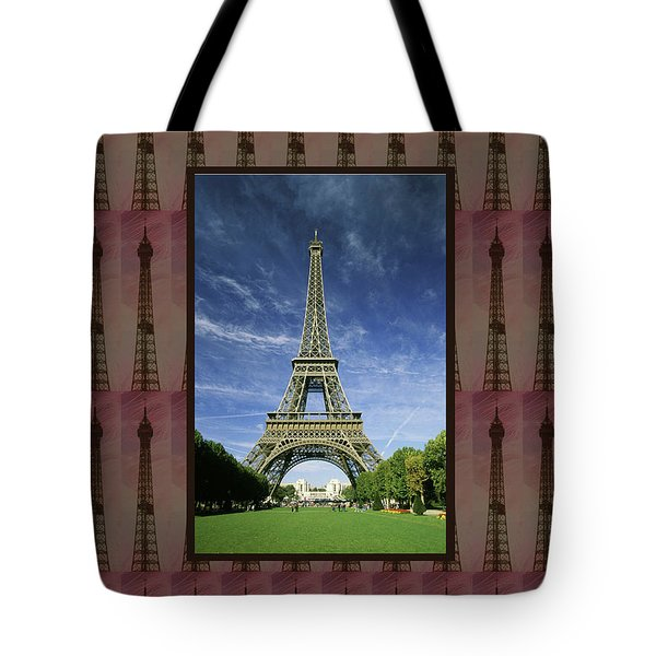Tote Bag featuring the photograph Effel Tower Paris France Landmark Photography Towels Pillows Curtains Tote Bags by Navin Joshi