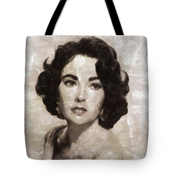 Elizabeth Taylor, Vintage Hollywood Legend By Mary Bassett Tote Bag by Mary Bassett