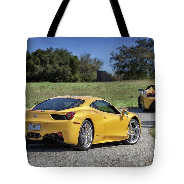Tote Bag featuring the photograph #ferrari #458italia #print by ItzKirb Photography