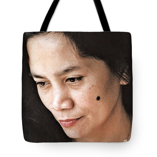 Tote Bag featuring the photograph Filipina Beauty With A Mole On Her Cheek by Jim Fitzpatrick