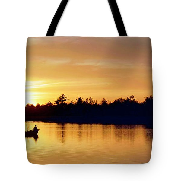 Fishermen On A Lake At Sunset Tote Bag