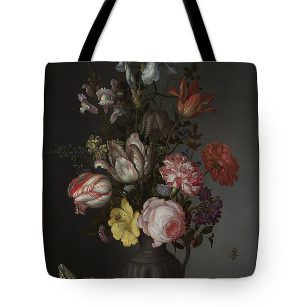 Flowers In A Vase With Shells And Insects Tote Bag