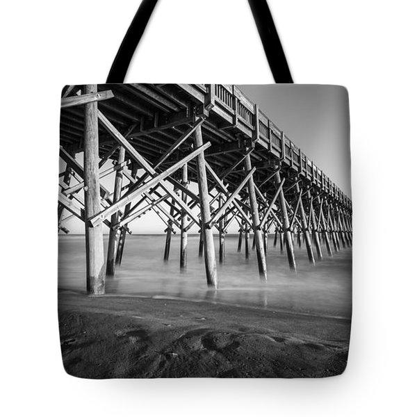 Folly Beach Pier Black And White Tote Bag
