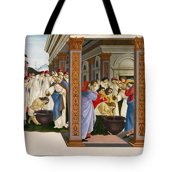 Four Scenes From The Early Life Of Saint Zenobius Tote Bag