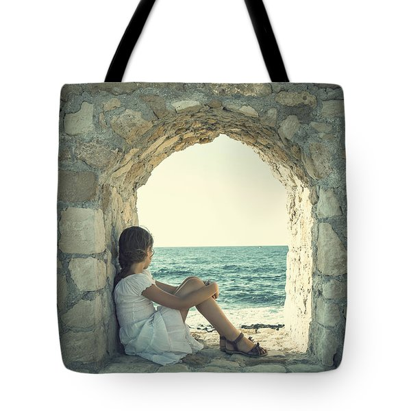 Girl At The Sea Tote Bag