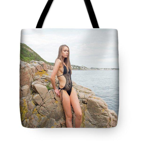 Girl In Black Swimsuit Tote Bag