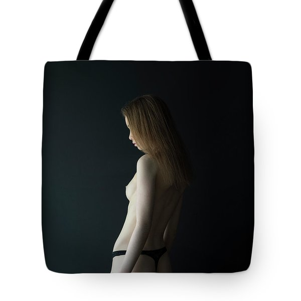 Girl In Front Of Black Wall Tote Bag
