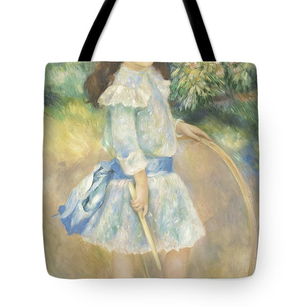 Girl With A Hoop Tote Bag