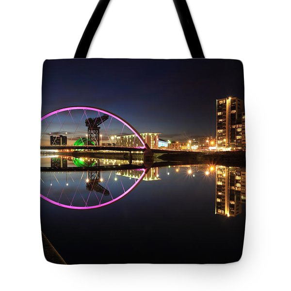 Glasgow Clyde Arc Bridge At Twilight Tote Bag