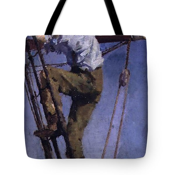 Tote Bag featuring the painting Going Aloft by Henry Scott Tuke