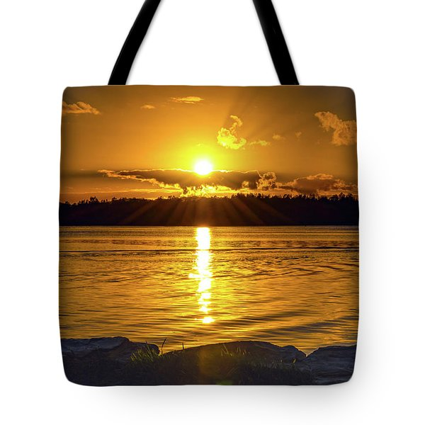 Golden Sunrise Waterscape Tote Bag