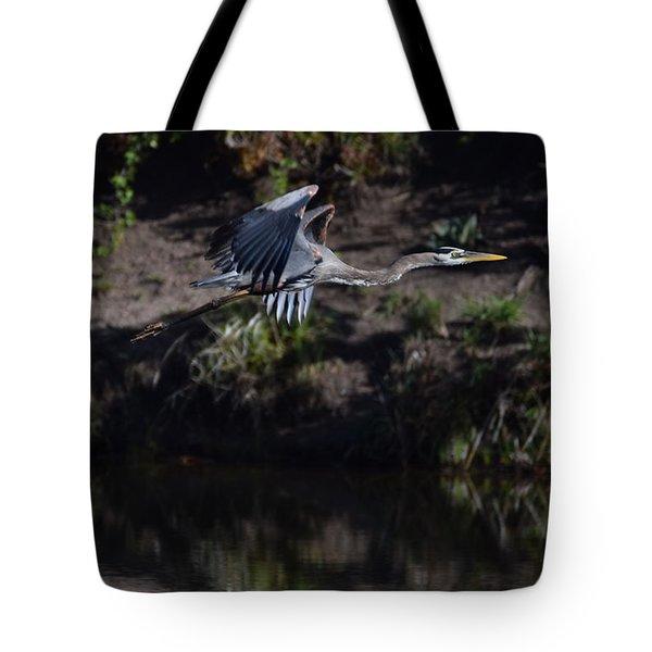 Tote Bag featuring the digital art Great Blue Heron by Margarethe Binkley