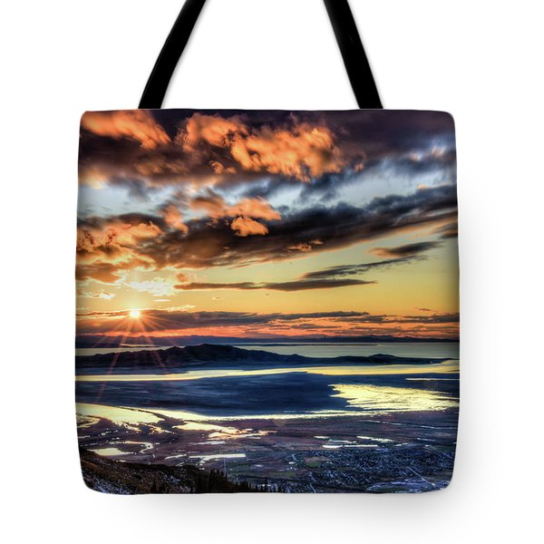 Tote Bag featuring the photograph Great Salt Lake Sunset by Bryan Carter