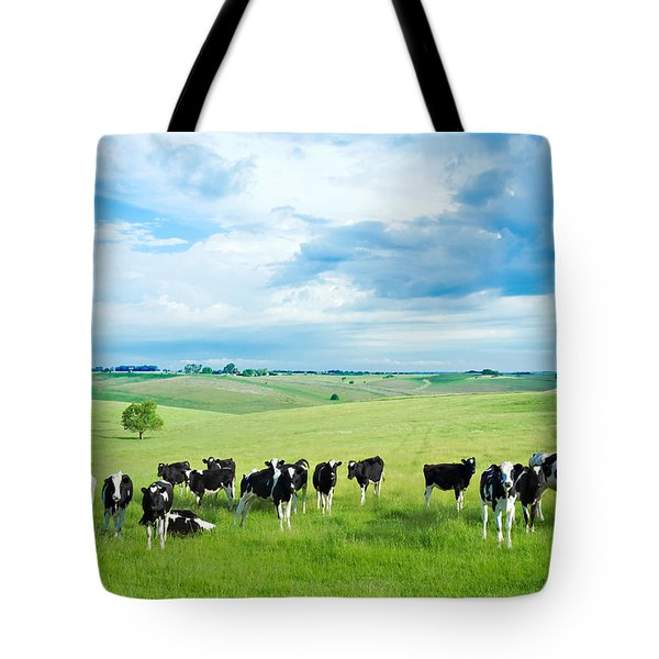 Happy Cows Tote Bag by Todd Klassy