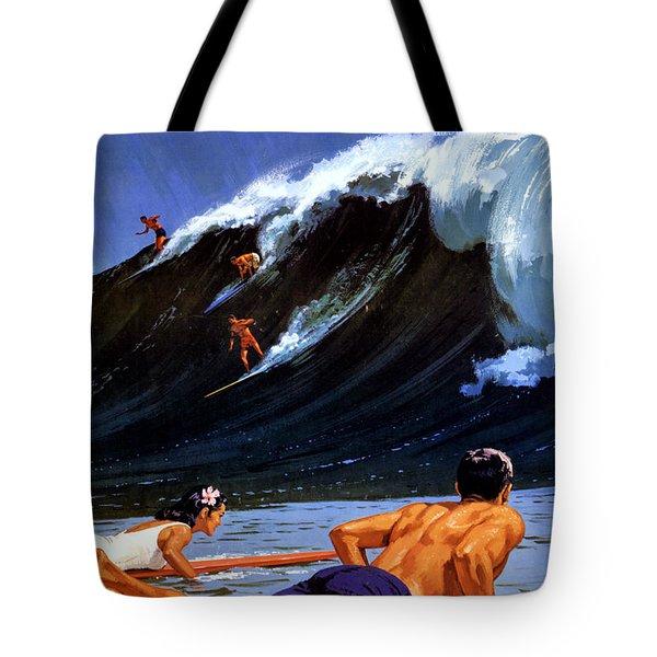 Hawaii Vintage Travel Poster Restored Tote Bag