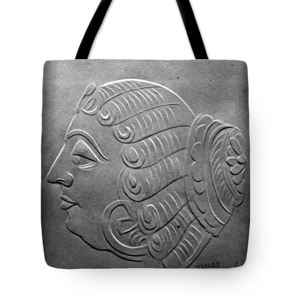 Tote Bag featuring the relief Head by Suhas Tavkar