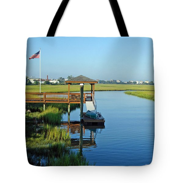 Tote Bag featuring the photograph High Tide West Salisbury St Bridge by Phil Mancuso