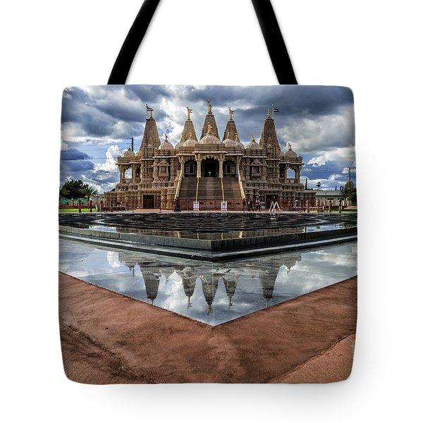 Hindu Temple Baps Shri Swaminarayan Mandir Tote Bag by Peter Dang