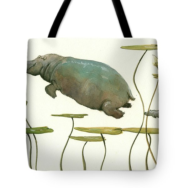 Hippo Mom With Baby Tote Bag