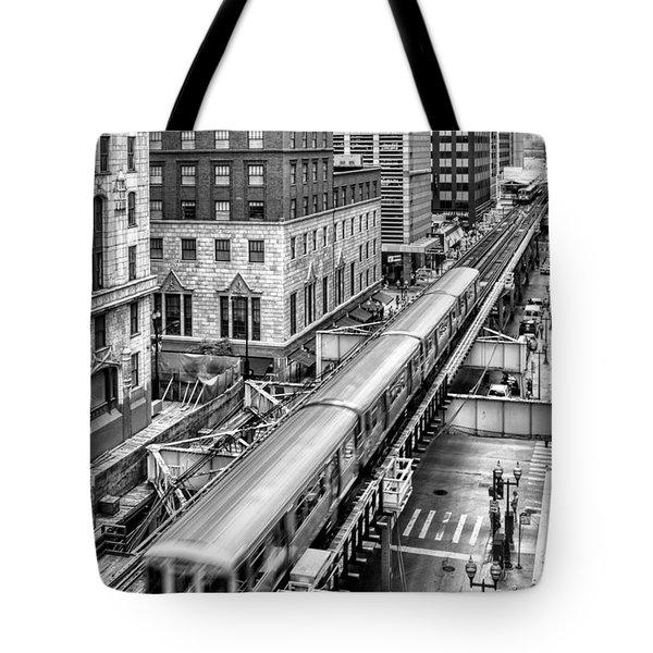 Historic Chicago El Train Black And White Tote Bag