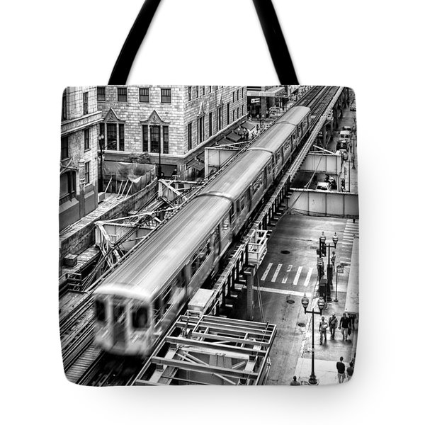 Historic Chicago El Train Black And White Tote Bag by Christopher Arndt