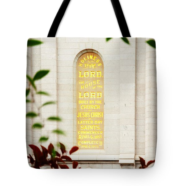 Holiness To The Lord Tote Bag by La Rae  Roberts
