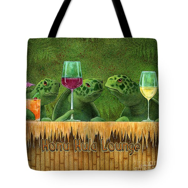 Tote Bag featuring the painting Honu Hula Lounge... by Will Bullas