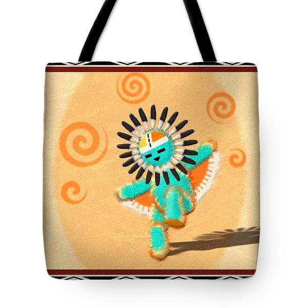 Tote Bag featuring the digital art Hopi Sun Face Kachina by John Wills