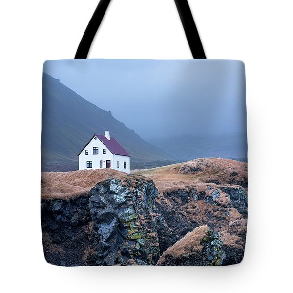 House On Ocean Cliff In Iceland Tote Bag