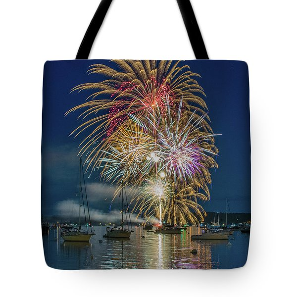 Independence Day Fireworks In Boothbay Harbor Tote Bag