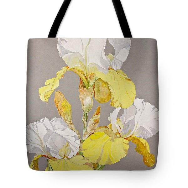 Tote Bag featuring the painting Irises-posthumously Presented Paintings Of Sachi Spohn  by Cliff Spohn