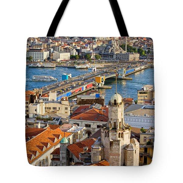 Istanbul Cityscape Tote Bag by Artur Bogacki