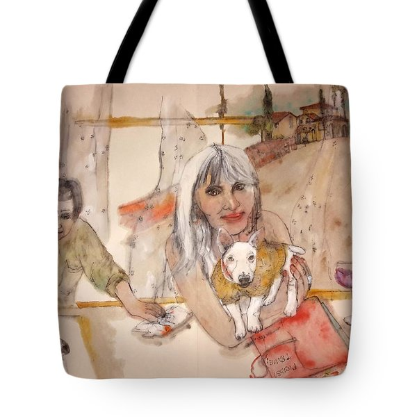 Tote Bag featuring the painting Italy Love Life And  Linguini Album by Debbi Saccomanno Chan
