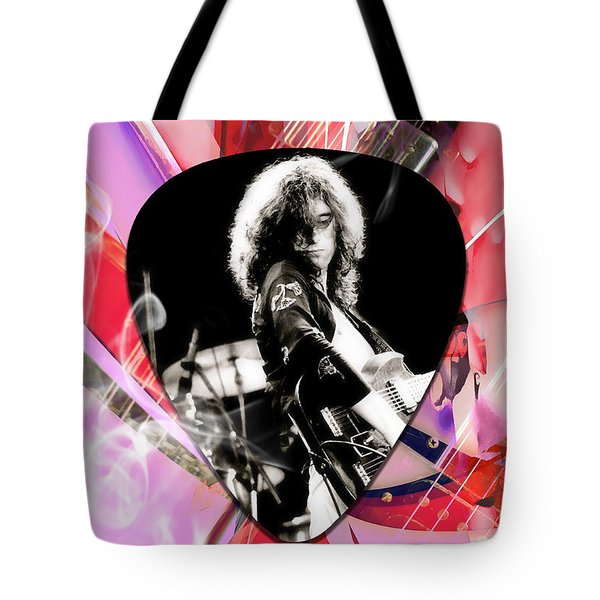 Jimmy Page Led Zeppelin Art Tote Bag by Marvin Blaine