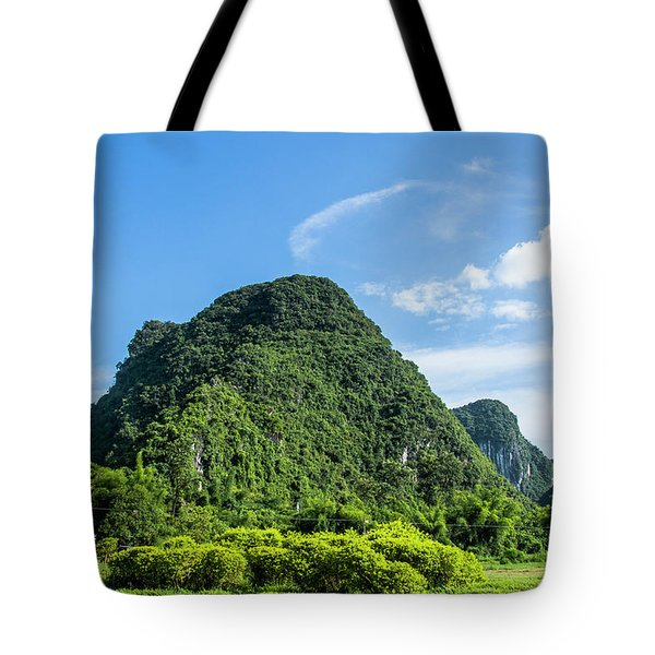 Tote Bag featuring the photograph Karst Mountains Scenery by Carl Ning