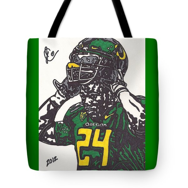 Tote Bag featuring the drawing Kenjon Barner 1 by Jeremiah Colley