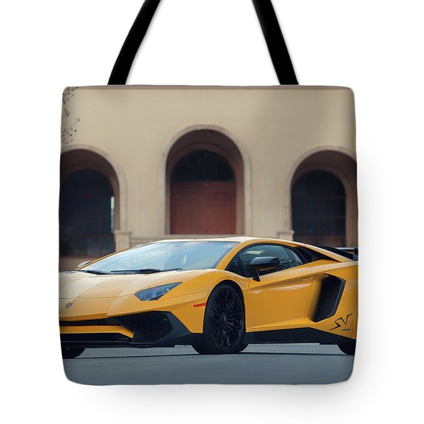 Tote Bag featuring the photograph #lamborghini #aventadorsv #superveloce #print by ItzKirb Photography