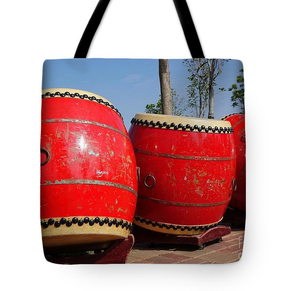 Large Chinese Drums Tote Bag by Yali Shi