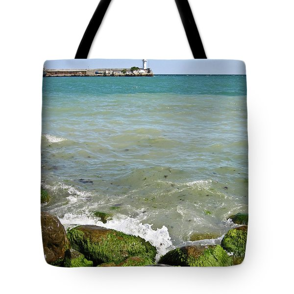 Lighthouse In Sea Tote Bag