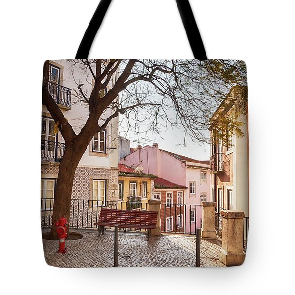 Tote Bag featuring the photograph Lisbon's City Street by Ariadna De Raadt