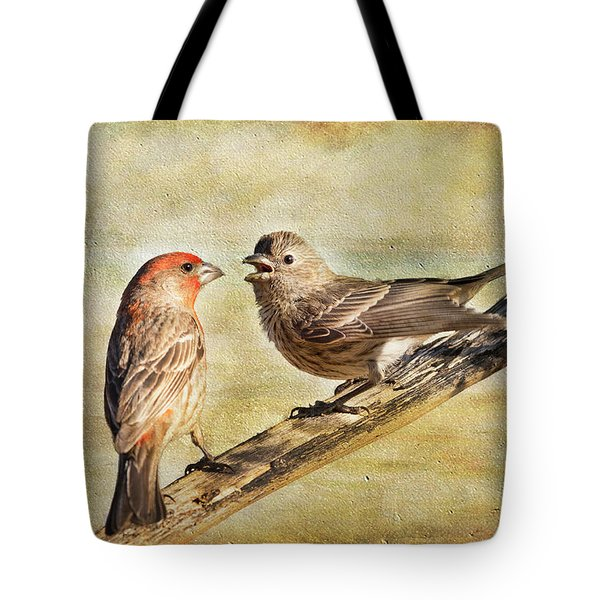 Tote Bag featuring the photograph 2 Little Love Birds by Barbara Manis