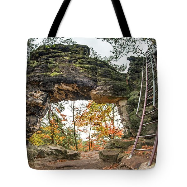 Tote Bag featuring the photograph Little Pravcice Gate - Famous Natural Sandstone Arch by Michal Boubin